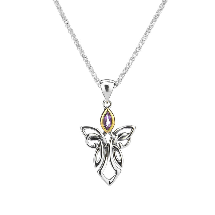 amethyst angel pendant with sterling silver and 10k yellow gold by keith jack