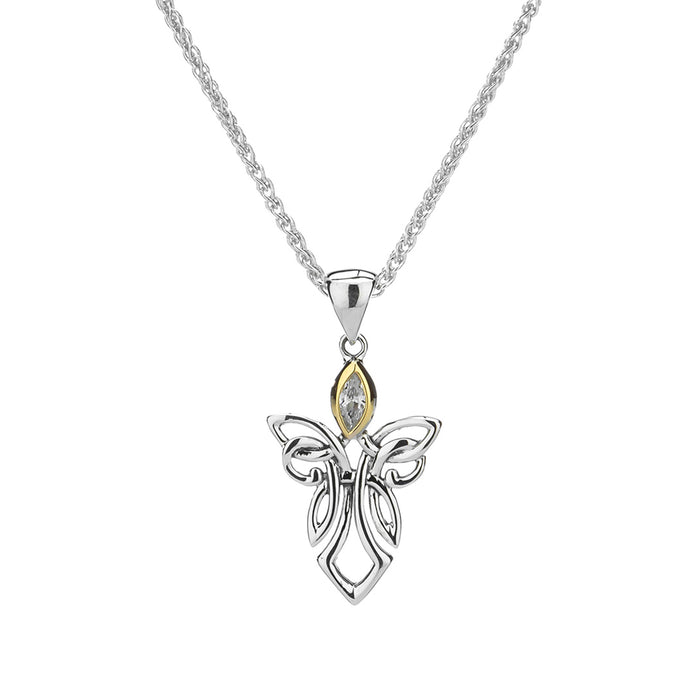 cz angel pendant with sterling silver and 10k yellow gold by keith jack