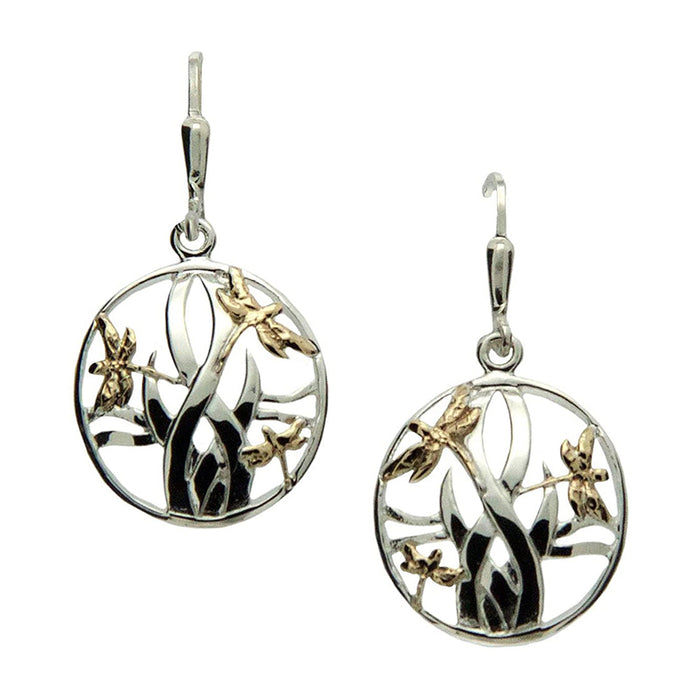 dragon fly earrings silver and gold by keith jack