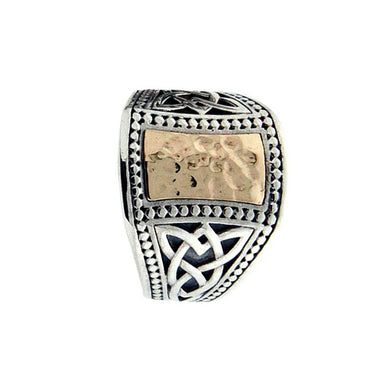 Sterling Silver and 10k Gold Men's Hammered Celtic Signet Ring by keith jack