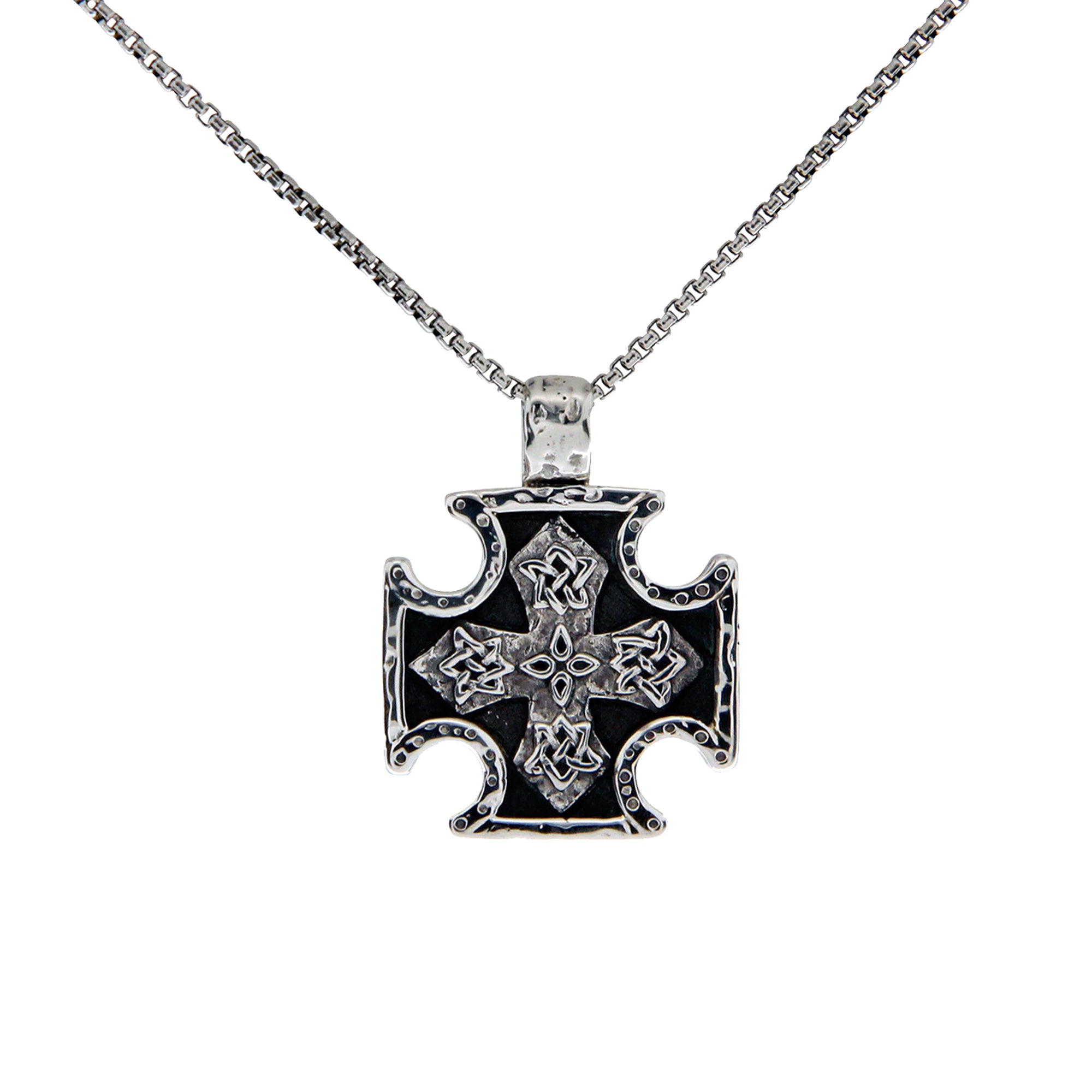 Sterling Silver Oxidized Biker Cross Medium Pendant