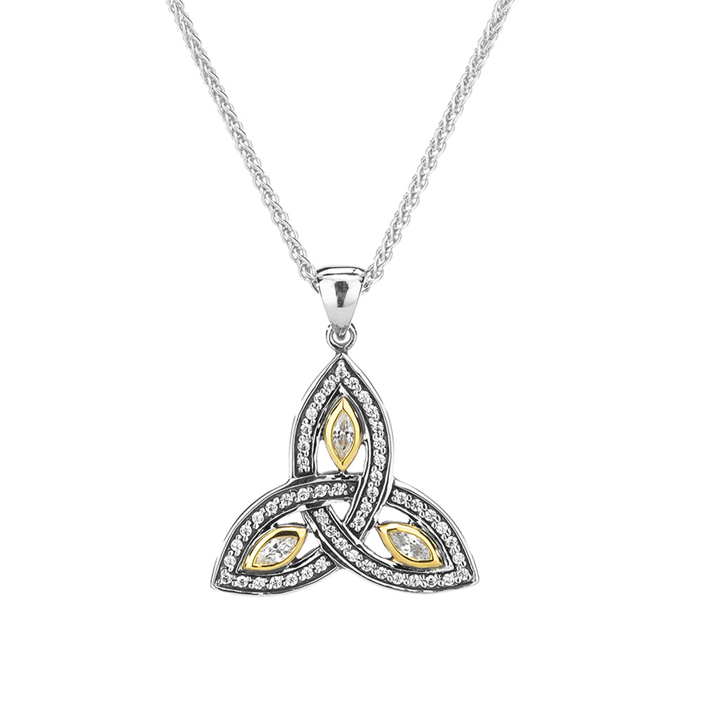 Sterling Silver and 10K  Trinity  CZ Small Pendant