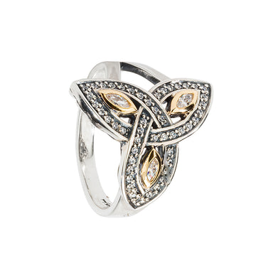 sterling silver and 10k yellow gold trinity knot cz ring by keith jack
