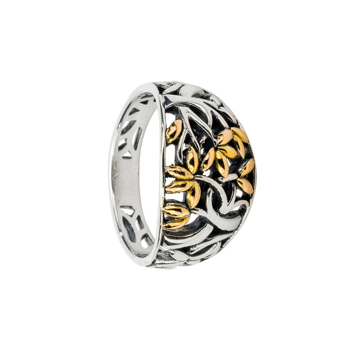 sterling silver and 18k gold tree of life ring by keith jack