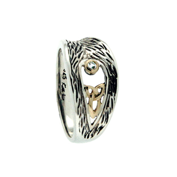 silver and 10k gold trinity and white sapphire ring by keith jack