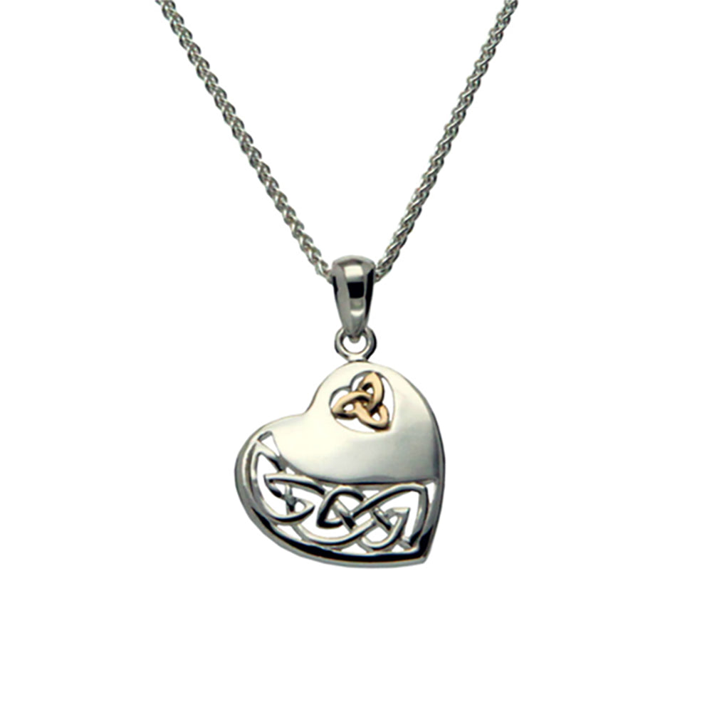 Sterling Silver and 10K Celtic Heart Pendant