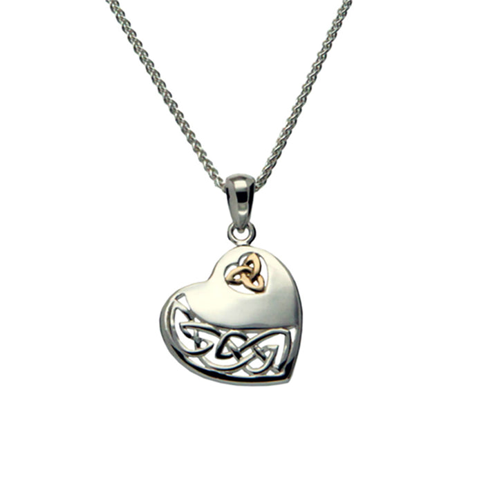 sterling silver and 10k yellow gold heart pendant by keith jack