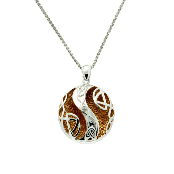sterling silver and 22k gilded diamond faeri pool celtic knot pendant by keith jack