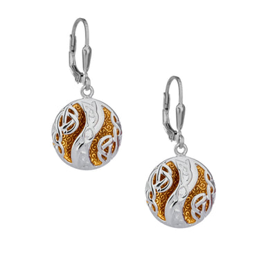 sterling silver and 22k gilded faerie pool celtic knot earrings by keith jack