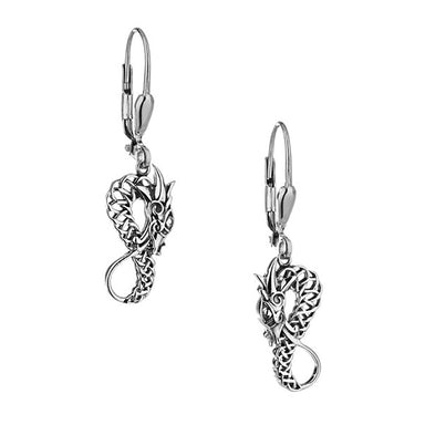sterling silver black dragon leverback earrings by keith jack