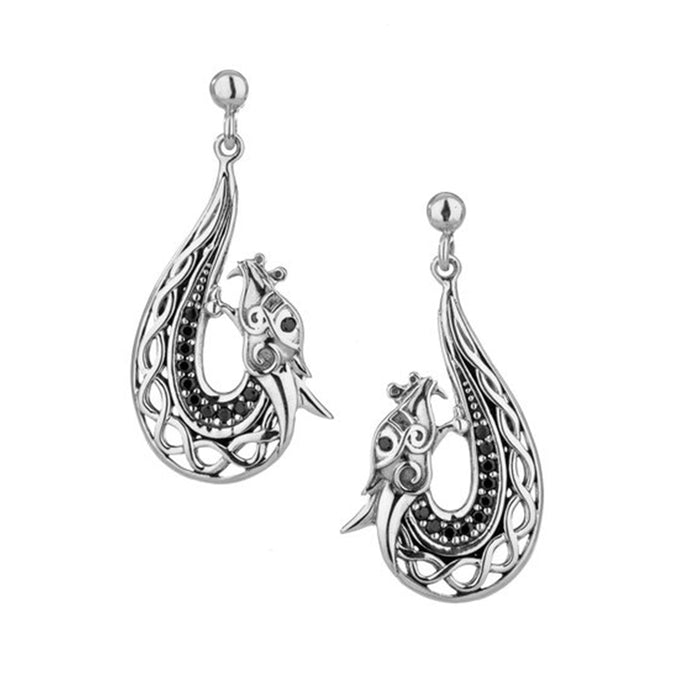 sterling silver black dragon post earrings by keith jack