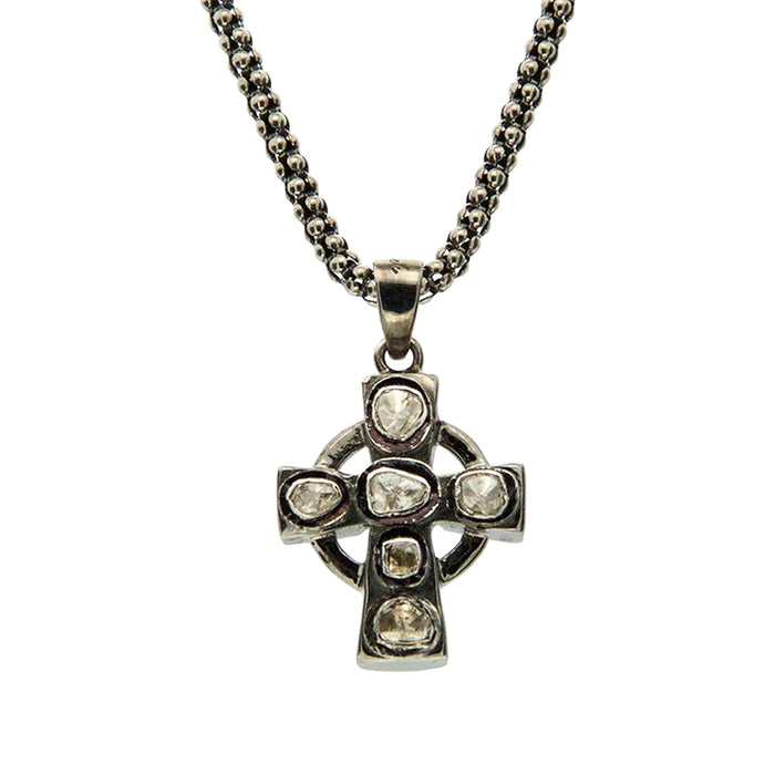 Sterling Silver Black Rhodium Raw Diamond Cross Pendant