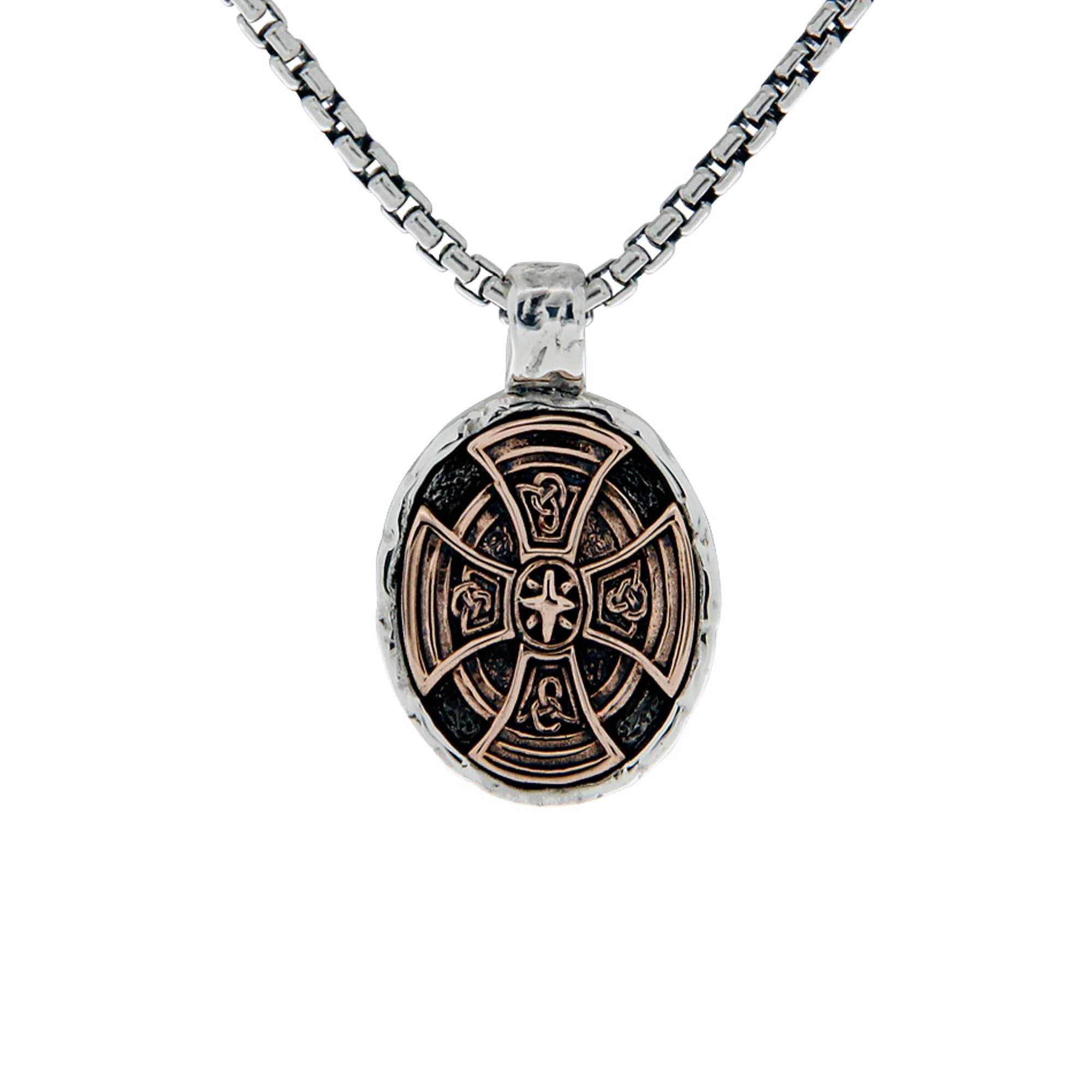 Sterling Silver and Bronze Large Celtic Cross Oval Pendant