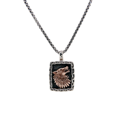 Sterling Silver and Bronze Small Wolf Pendant