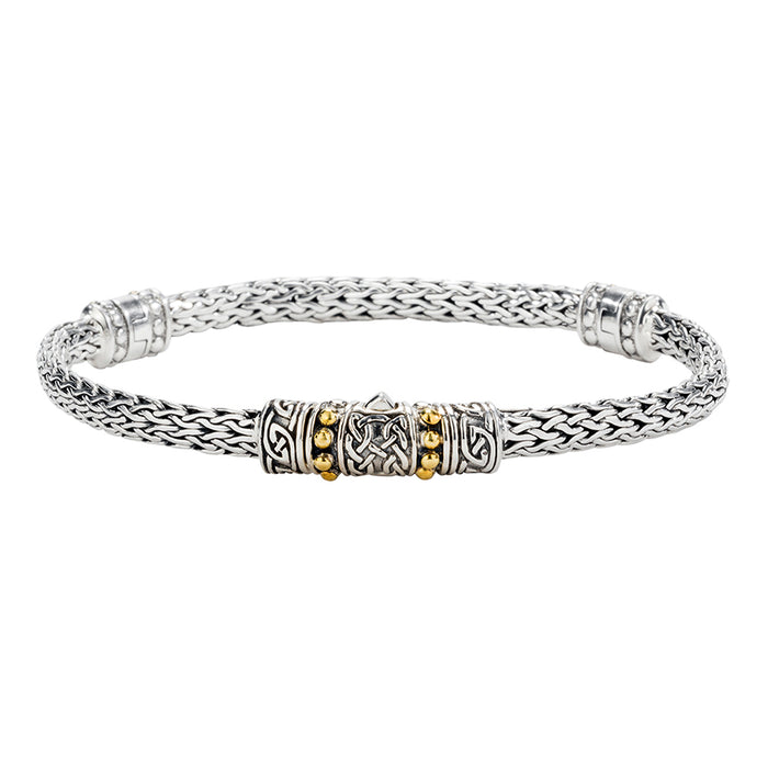 sterling silver dragon weave eternity bracelet with 18k gold accents by keith jack
