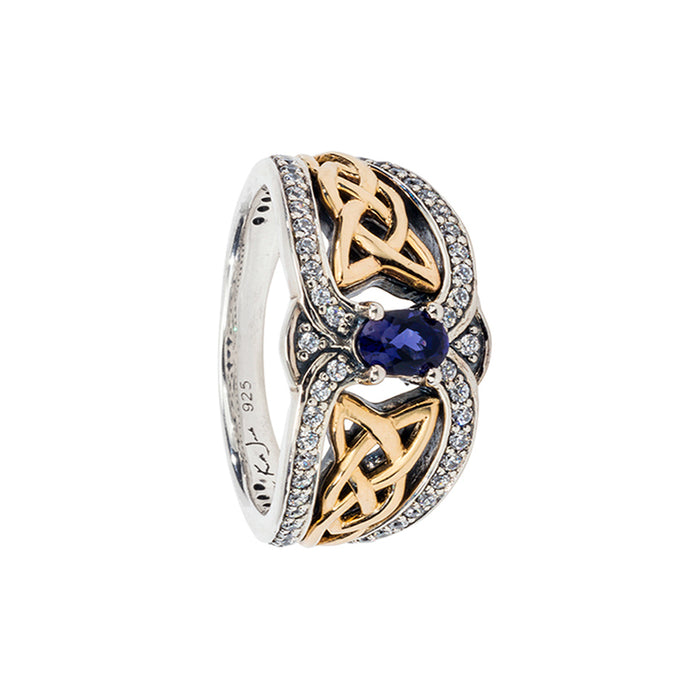 iolite Sterling Silver Dress Ring (Tapered) with 10K Yellow Gold Accents by keith jack