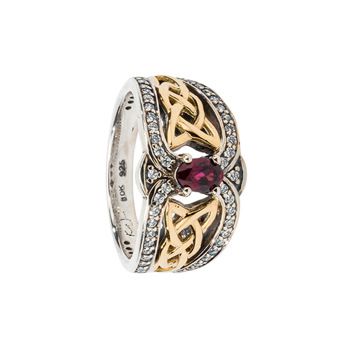 rhodolite Sterling Silver Dress Ring (Tapered) with 10K Yellow Gold Accents by keith jack