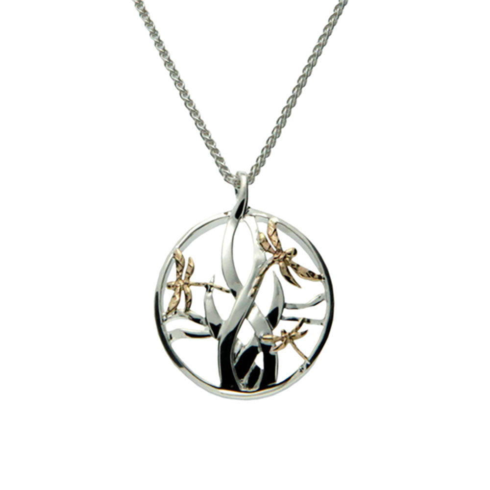 S/Sil + 10K Small Dragonfly In Reeds Pendant
