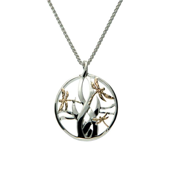 sterling silver gold small dragonfly pendant by keith jack