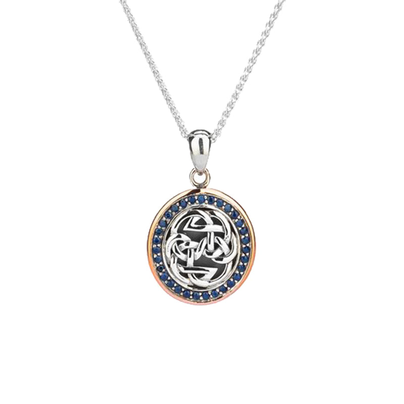 Sterling Silver Oxidized and 10K Rose Gold Blue Sapphire Lewis Knot Pendant