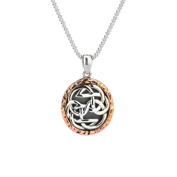 Sterling Silver Oxidized and 10k Rose Gold Lewis Knot Pendant