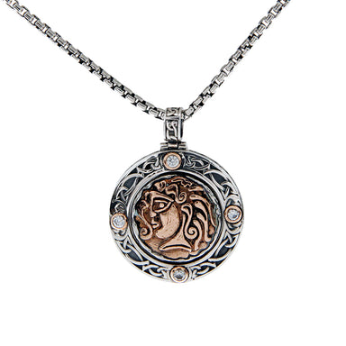 Sterling Silver Oxidized Bronze CZ Four Angels Reversible Spinner Pendant