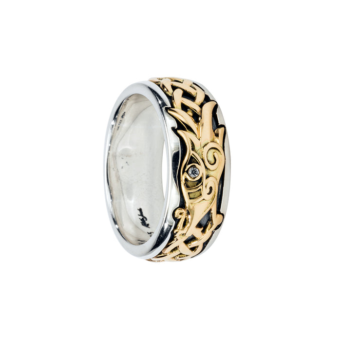 oxidized sterling silver and 10k yellow gold white sapphire dragon ring by keith jack