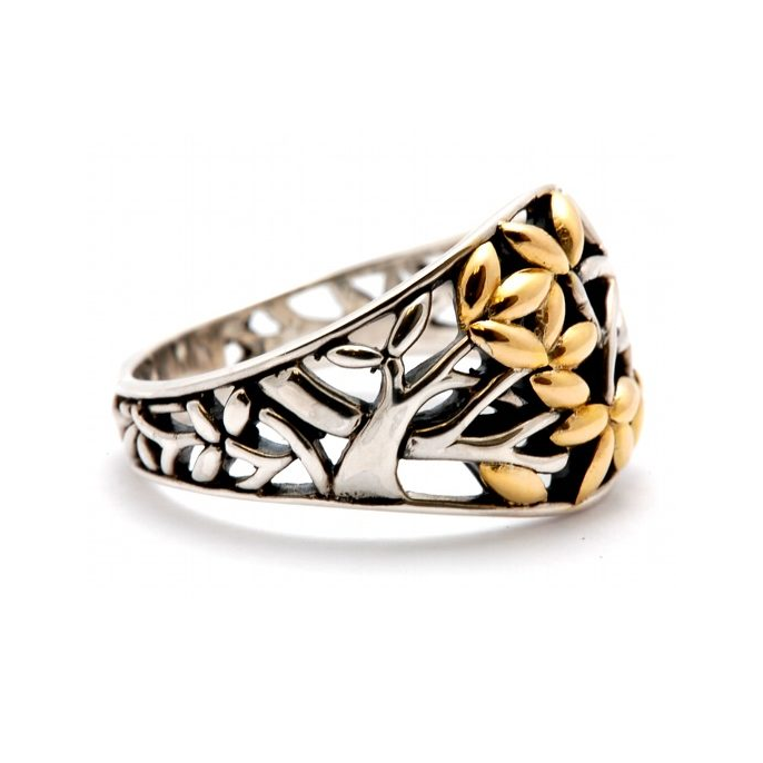side view of sterling silver and 18k gold tree of life ring by keith jack
