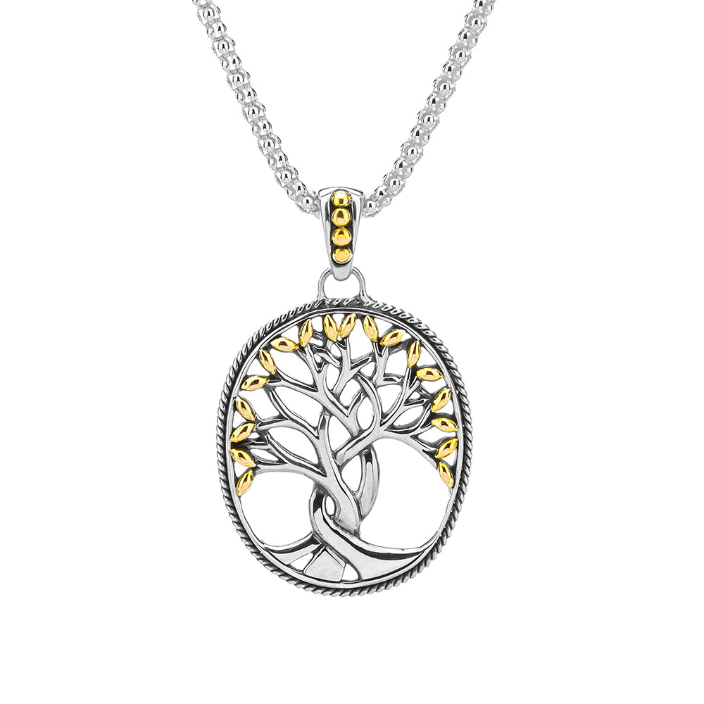 S/Sil + 18K Tree of Life Pendant