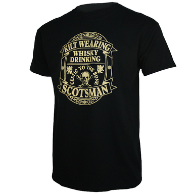 side view of kilt wearing scotsman t-shirt