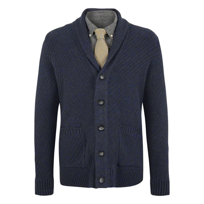 front of mcconnell woollen mills mens cardigan sweater