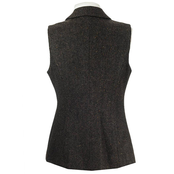 back of brown ladies wool tweed gilet by celtic lady