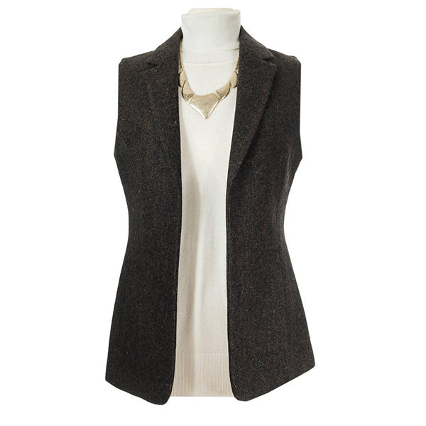front of brown ladies wool tweed gilet by celtic lady