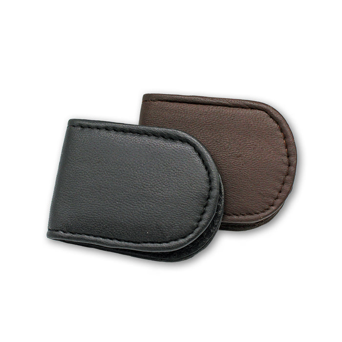 brown and black leather magnetic money clip