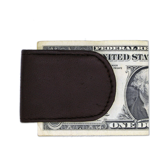 brown leather magnetic money clip