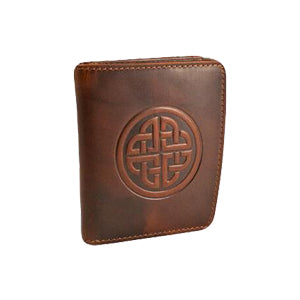 front of dark tan caitlin leather wallet by lee river