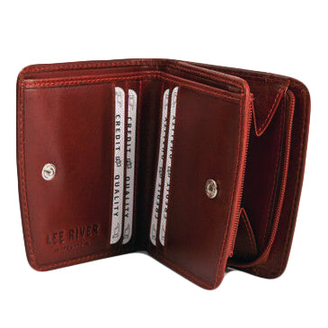 open view of leather caitlin wallet by lee river