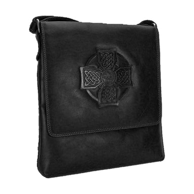 front of celtic cross leather satchel bag by lee river