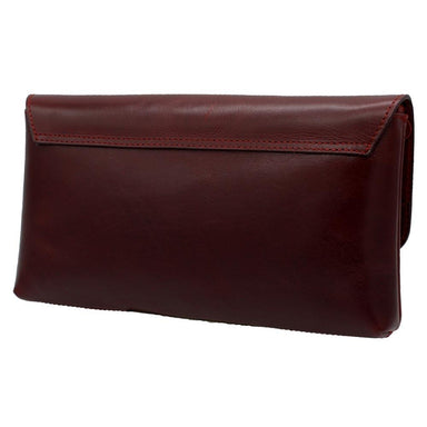 back of red leather ciara clutch bag by lee river