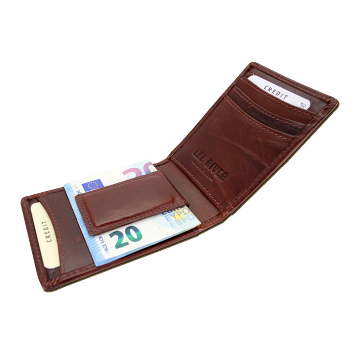 open pockets of brown fergal dog clip wallet by lee river