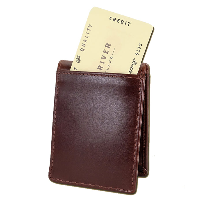 back of brown fergal dog clip wallet by lee river