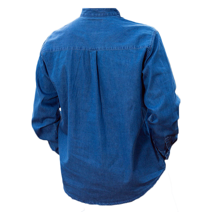 back of blue denim grandfather shirt by lee valley