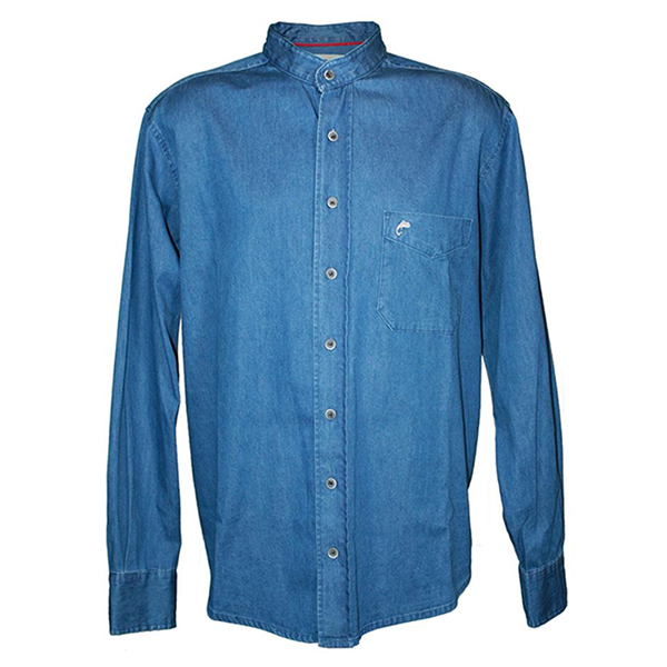 front of blue denim grandfather shirt by lee valley