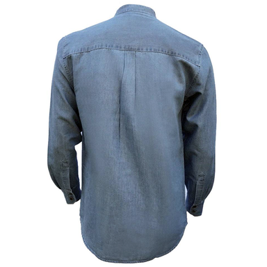 back of light blue tencel grandfather shirt by celtic ranch