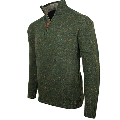 side view of aran woollen mills troyer half zip sweater