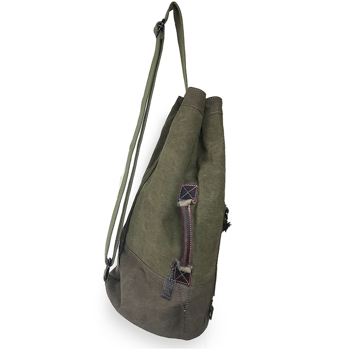 side view of waxed canvas traveler sling duffle bag by love indeed