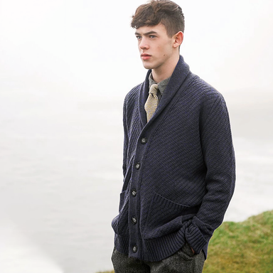 male model of mcconnell woollen mills mens cardigan sweater