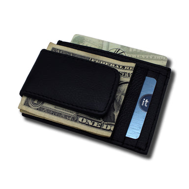 back of black textured leather money clip