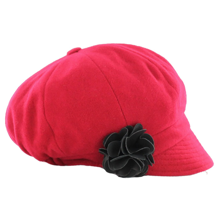 ladies newsboy cap color red by mucros weavers