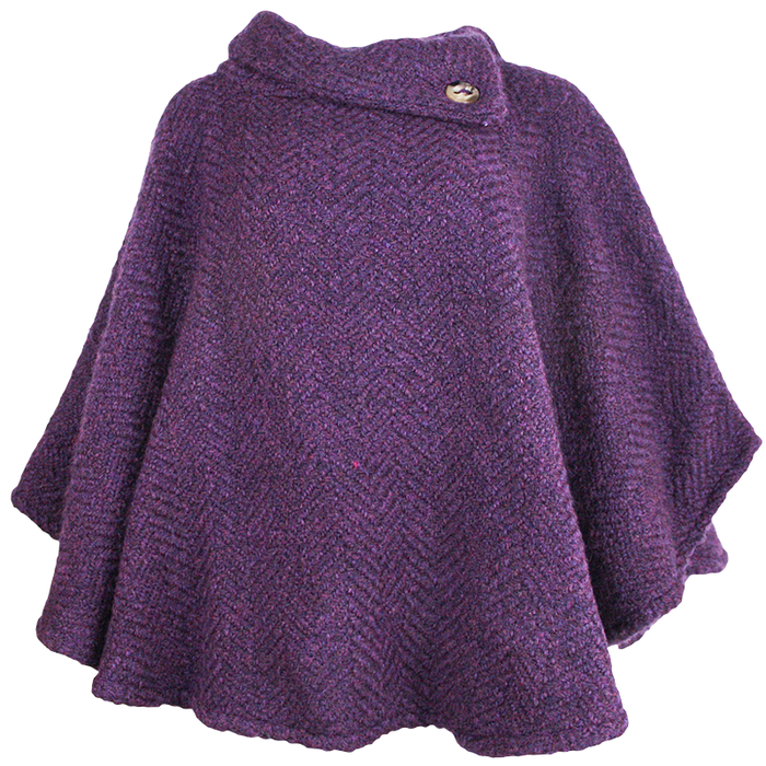 front of mulberry purple laura poncho by branigan weaver